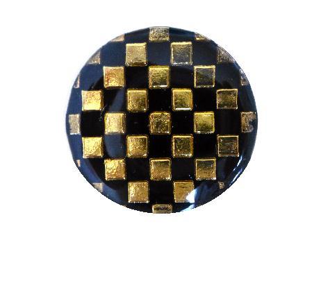 Gold and Black Chequerboard Small button (no.0300)