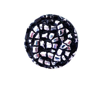 Silver Lustre Tinsel Small Black button (No.00320)