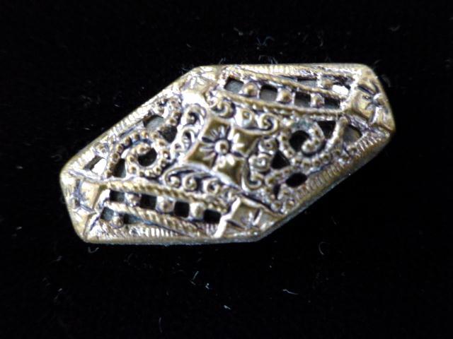 Brass Filgree Mirror-back Lozenge Set of 4 buttons
