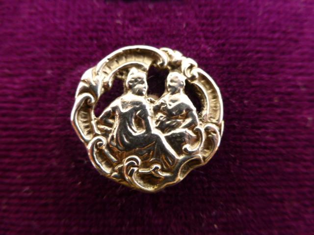 Two Figures Rococo Silver button