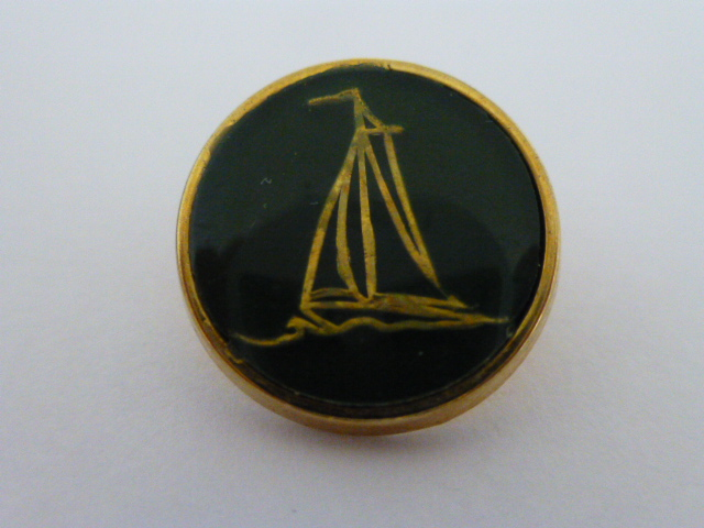 Set of 5 Gilt and Green Sailing Boat buttons