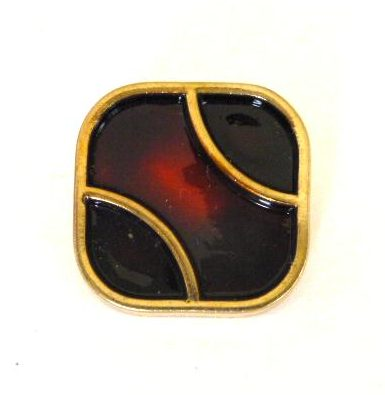 Red and Black Enamel Square button (no.0666)