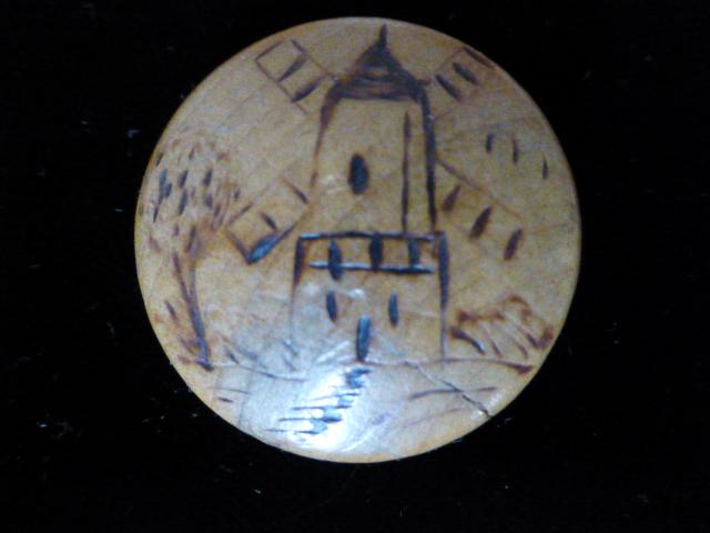 Windmill Pokerwork Wood Domed button
