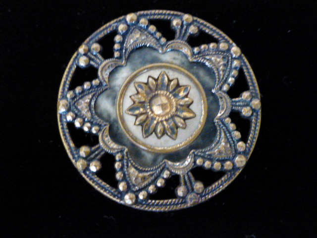 Celluloid and Metal Large Openwork button