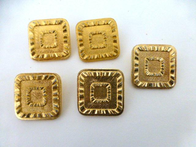 5 x Light Gold Alloy Square Buttons Set