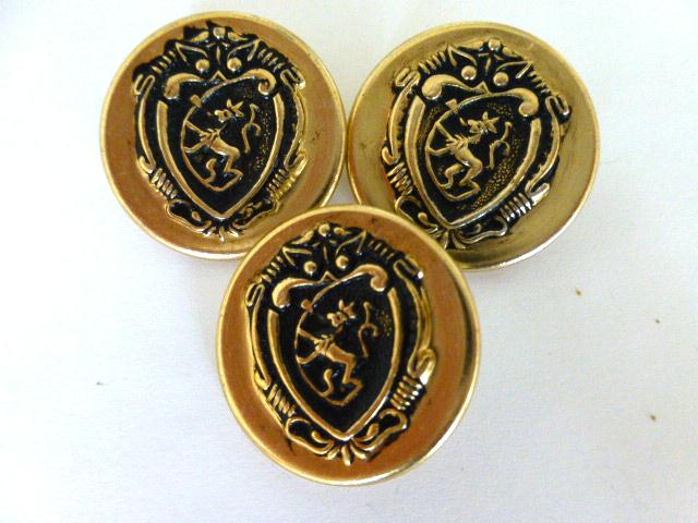Set of 3 Light Gold Heraldic Shield buttons