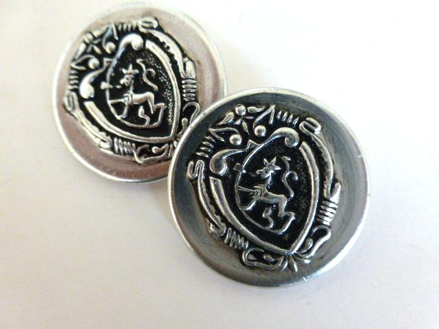 Pair of Large Silver Heraldic Shield buttons