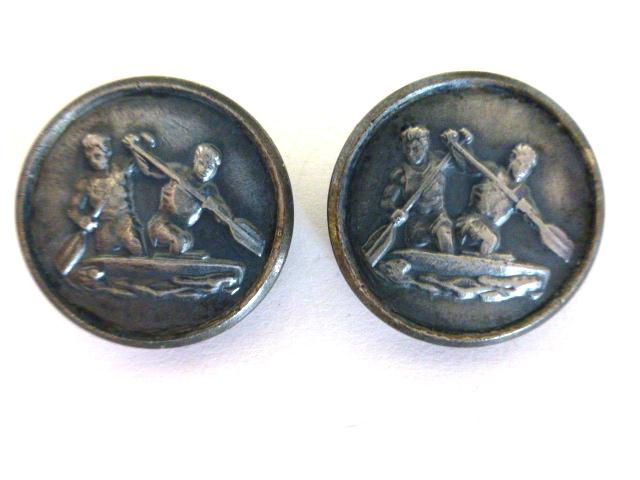 Pair of Tarnished Metal 'Rowers' buttons