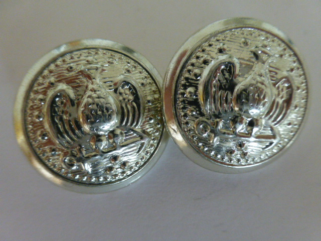 Pair of Silver Metal US Pea Coat buttons