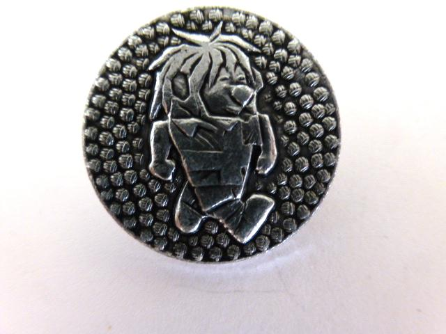 'Flintstone' Silver Alloy button