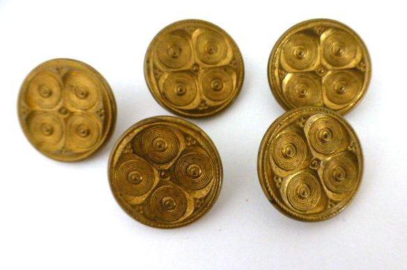 Set of 5 Brass Circle Design Antique buttons