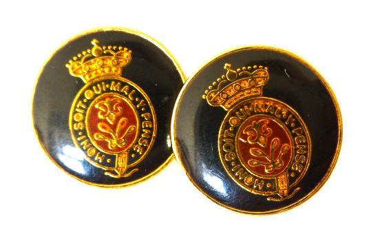 Pair of Gilt metal cased Insignia Sleeve buttons