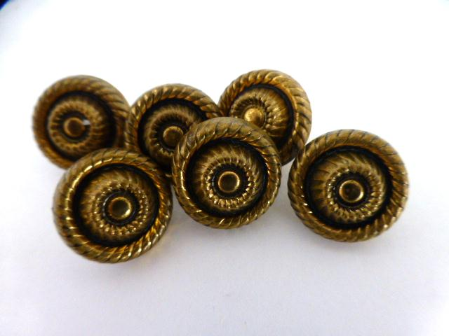 Antique Finely Detailed Brass Set of 6 buttons