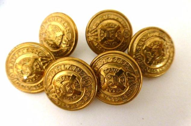 6 x Antique Canadian Scottish Highlands Regiment Sleeve Buttons Set