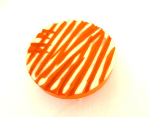 Terracotta and White Striped button (no.01021)