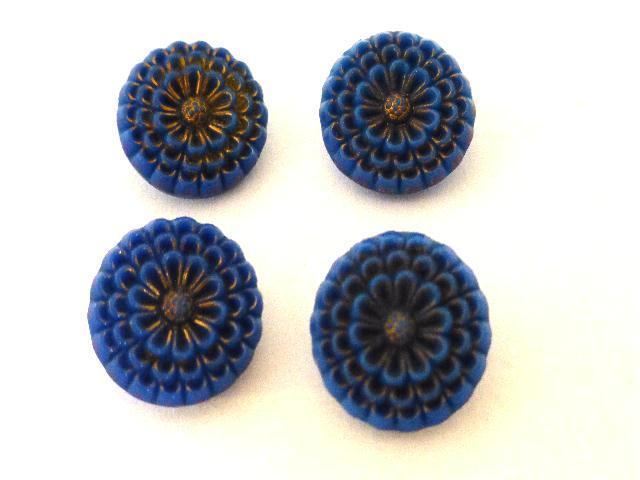 4 x Blue Glass Flower Buttons Set
