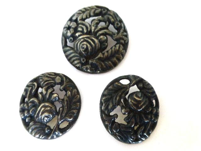 Set of 3 Art Deco Silver Metal buttons