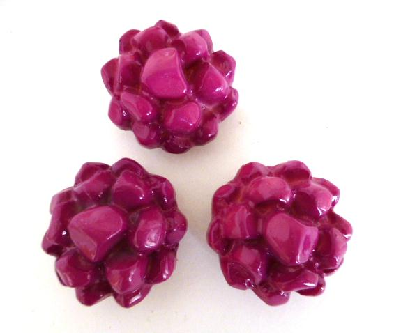 3 x Cerise Pink Dahlia Large Buttons Set