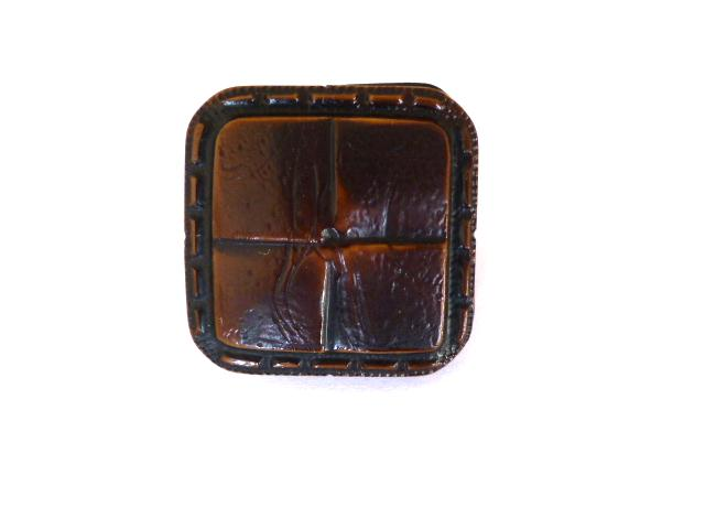 Brown Faux Leather Weave Square button (no.01000)