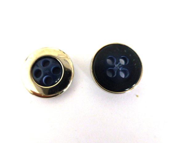 Silver Metal Cased Dark Blue Small button ( no.00941)