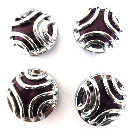 Set of 4 Silver and Purple Domed buttons