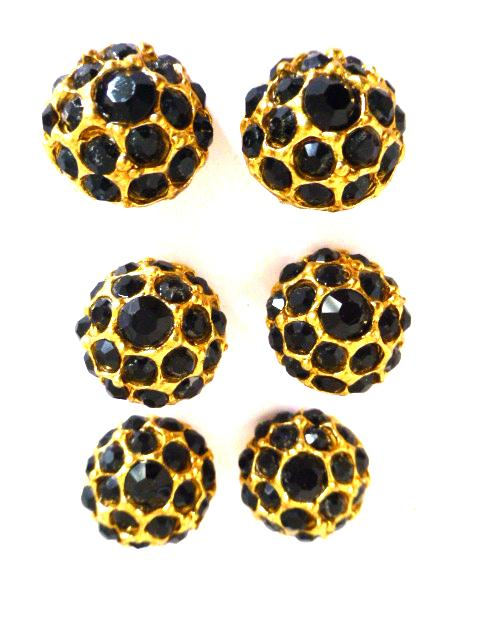 6 x Black Diamonte Dome Gold buttons Set