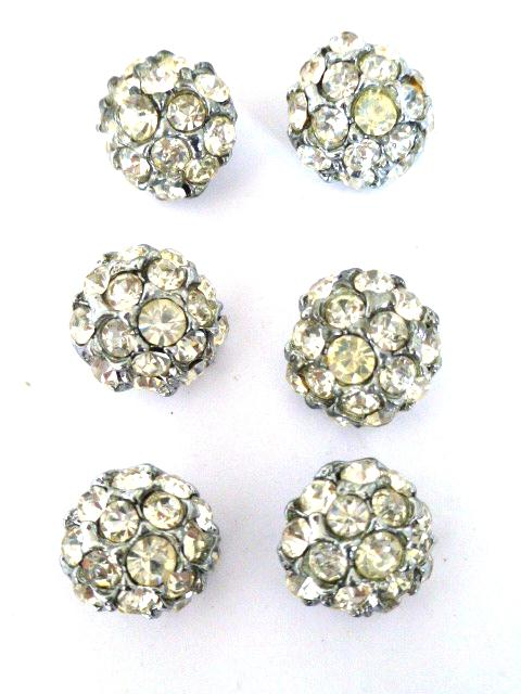 6 x White Diamonte Small Dome Set of buttons