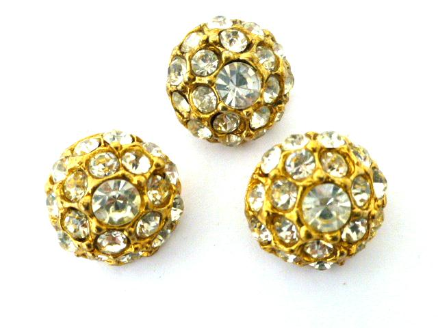Set of 3 Gold and White Diamonte Domed buttons