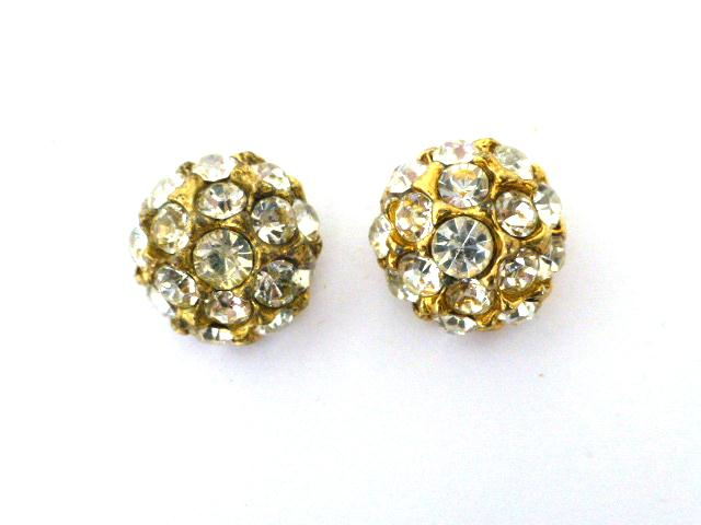 Pair of Small Gold and White Diamonte Dome buttons