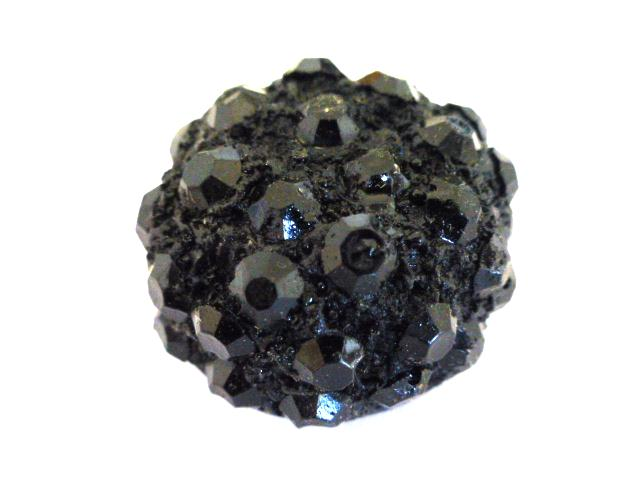 Black Sparkle Dome button (no. 01074)