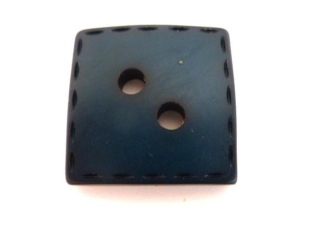 Dark Aqua Blue Stitch Thick Square Large button (no. 00817)
