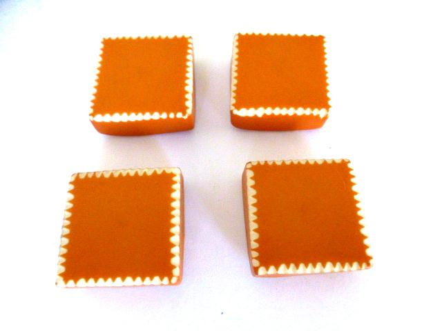 Set of 4 Tan Orange Thick White Edged Square buttons