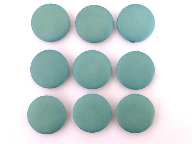 Set of 9 Turquoise Flat Disc buttons
