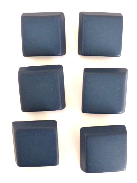 Set of 6 Dark Blue Canted Corner Square buttons