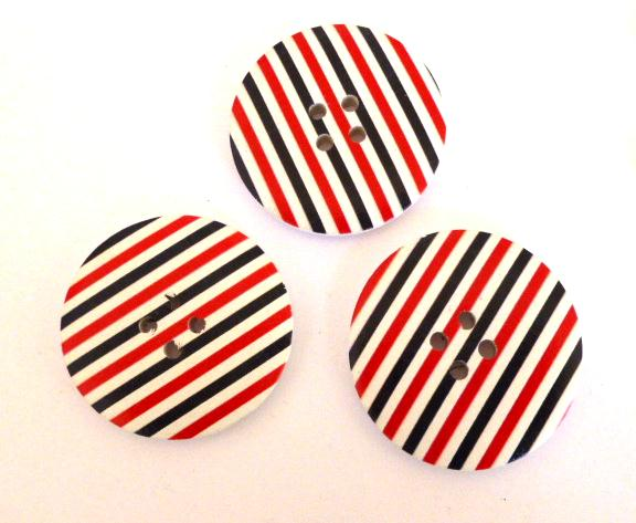 3 x Black, Red and White Giant 4 Hole buttons