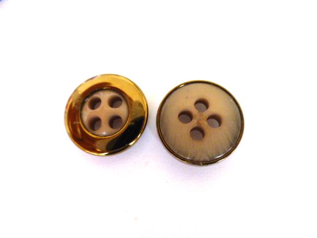 Pink/Grey Small Bronze Cased 4 Hole button (no. 01082)