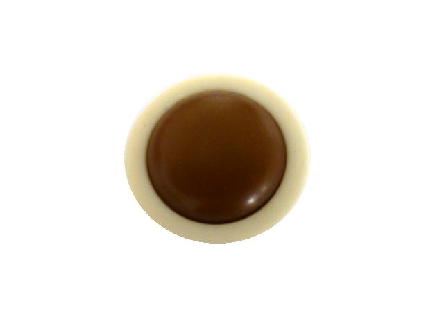 Brown Cream Flat Dome button (no.00990)