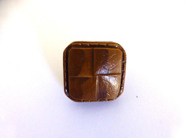 Tan Faux Leather Weave Small Square button (no.01088)