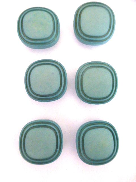 Set of 6 Small Egg Shell Blue Rounded Square buttons