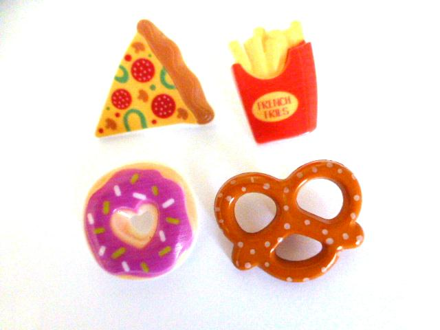 Fast Food Realistic button Set of 4