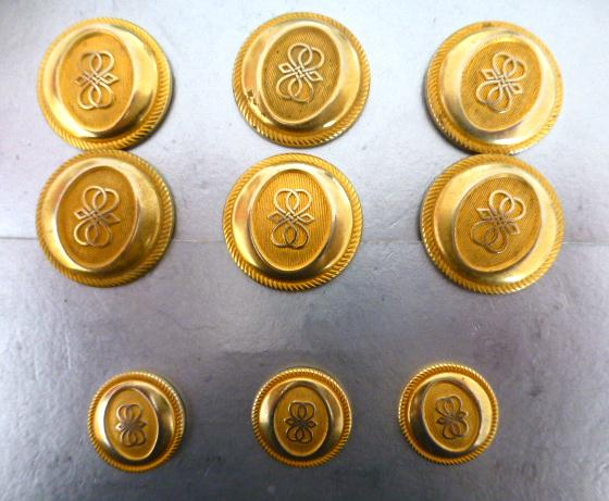 Blazer Set of 9 Decorated Gilt buttons