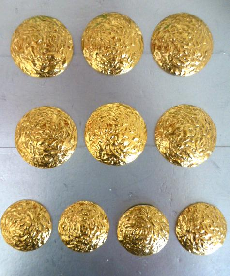 Set of 10 Gold Textured Metal buttons (6 Large and 4 Smaller)