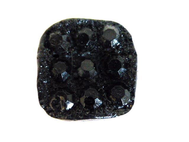 Black Facet Domino Sparkle button (no.0999)