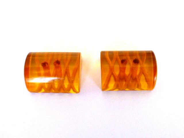 Pair of Amberine Lucite 1930's buttons