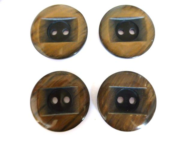 Set of 4 Brown Nylon Glow Square 2 Hole buttons