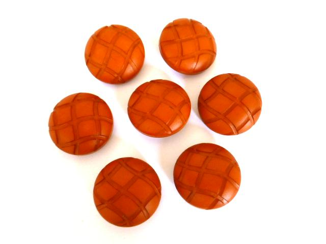 Set of 7 Burnt Orange Dome buttons