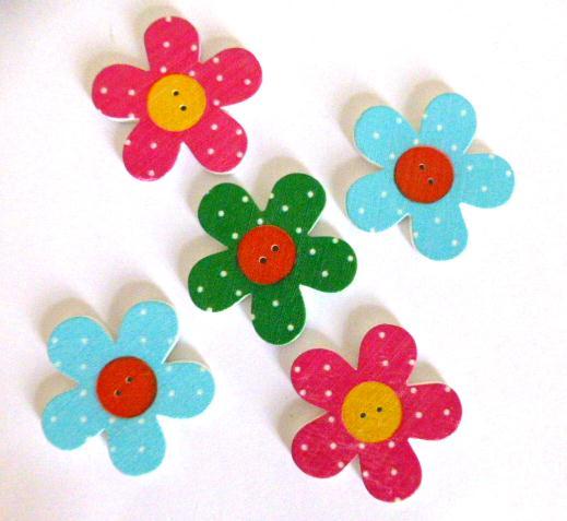 Set of 5 Button Flower buttons