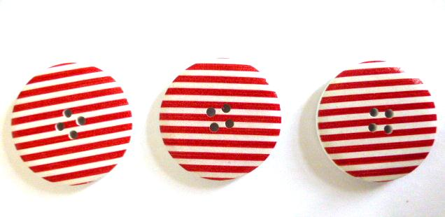 Red and White Stripe Giant buttons x 3