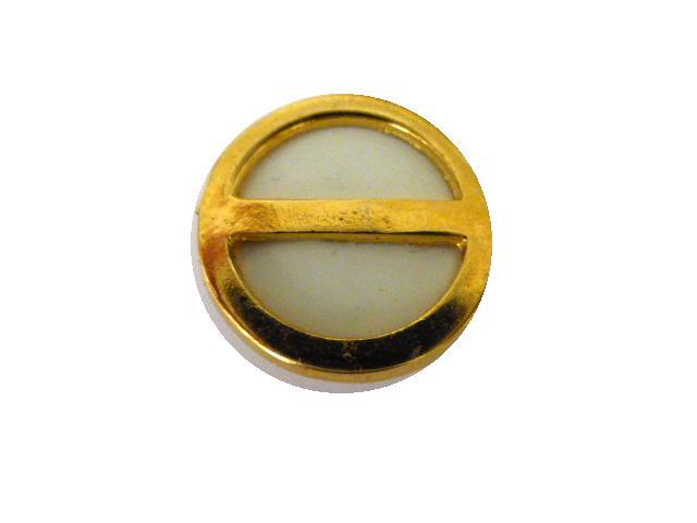 Gold Brass Framed White Interior button (no.01108)