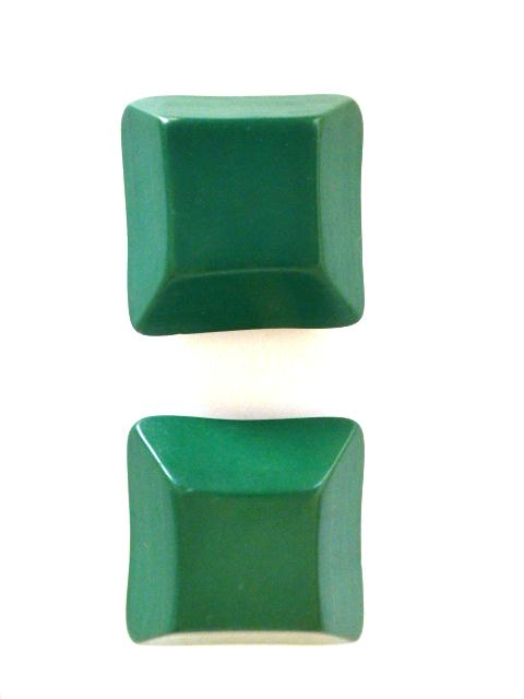 Jade Green Pair of Extra Large Chunky Square buttons